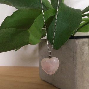 Rose Quartz Heart Shaped Pendant for Necklace